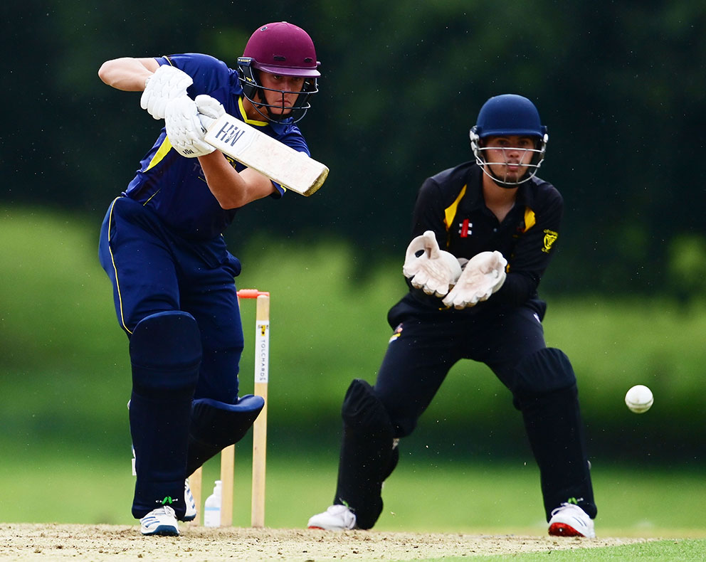 Elliot Hamilton on his way to a top score of 67 for Devon in the defeat by Cornwall at Sandford<br>credit: @ppauk