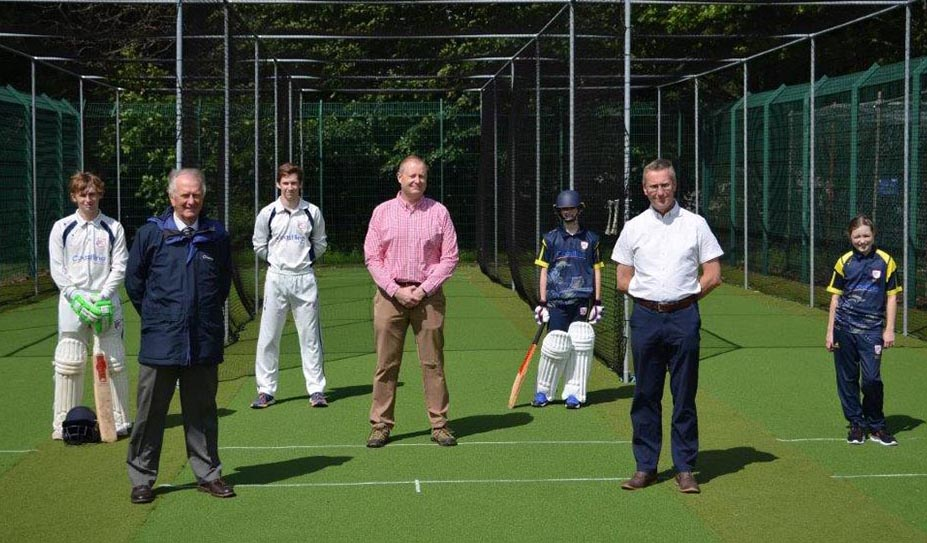 Looking down the practice lanes at Plympton's newly refurbished nets
