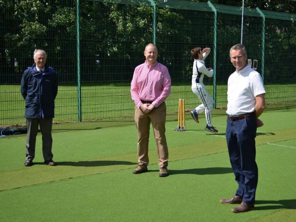 Left to right are Dave Loynes, Jon Goulder and Coun Patrick Nicholson in the newly refurbished nets at Plympton CC