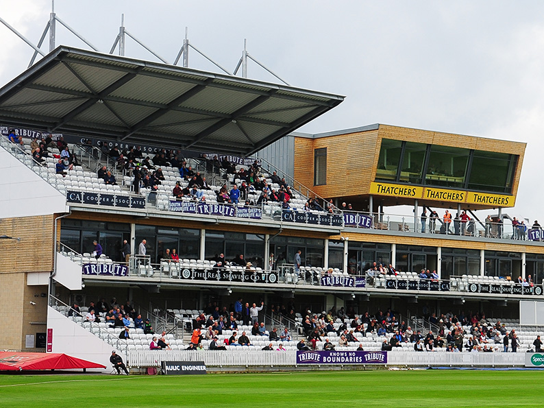 Enjoy a grandstand view of proceedings at the Cooper Associates County Ground