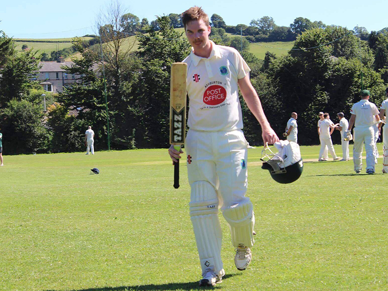 Tristan Wakefield makes is way off the Varwell Field after his record-breaking innings for Ashburton