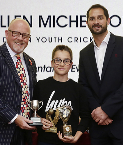 Left to right are Dave Kendall (Wollen Michelmore), under-11 young player Blaise Baker and Somerset's head coach Jason Kerr