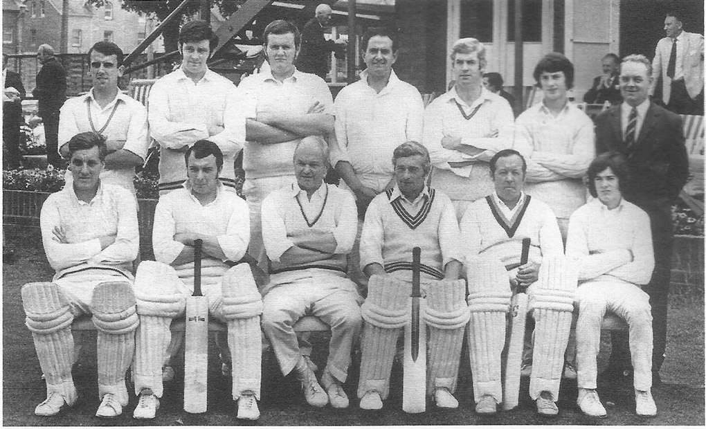 The Tavsistock team that won the Devon KO Cup at Paignton in 1971. Geoff Husband is in the front row on the far left with his pads on. The team that day was Back (left to right) Derek Pethick, Tony Clapp, Steve Callow, Hilton Jones, Davie Ewings, Phil Treseder, George Forbes; front: Husband, Maurice Craze, Doug Treloar, Tim Redman, Eric Jarman and Ray Treseder.
