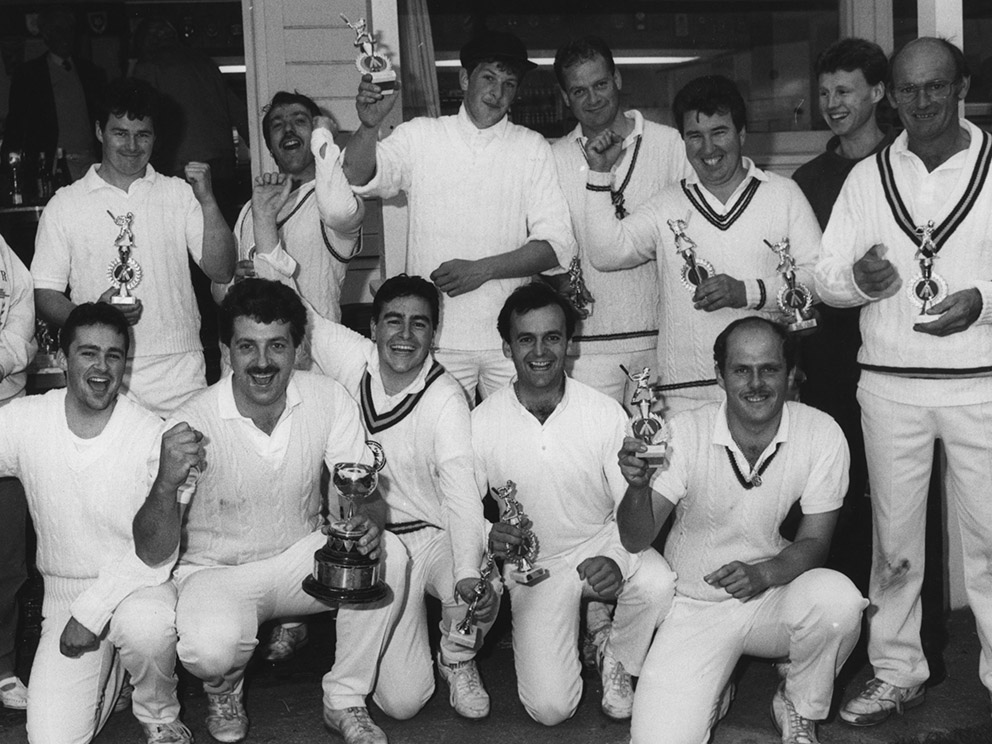 From the archive ... Ipplepen captain Keith Wakeham clutches the Brockman Cup after his side triumphed in the 1991 final<br>credit: Contributed