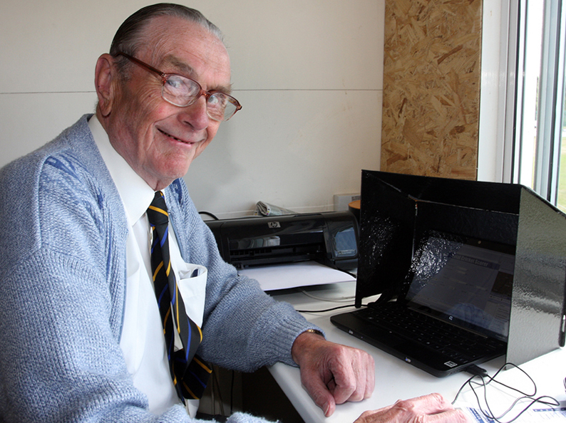 Harold Shaw in the score box  at Exmouth for a 2010 game against Buckinghamshire