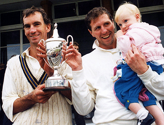 Left to right are Peter Roebuck, Nick Gaywood and daughter Eleanor with the Holt Cup after Devon beat Lincolnshire in the 1994 final at Lord's