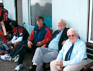 An image of David Shepherd, Brian Rose and Geoff Evans at Exmouth CC